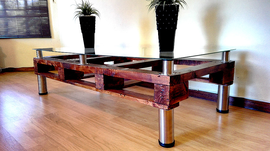 Large Pallet Coffee Table | Glass Top