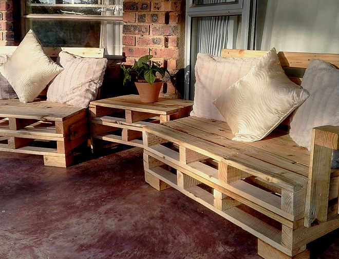 Mini Garden Patio Lounge Suite Pallet Patio Furniture - Creator Creations Custom Furniture White River / Nelspruit, Mpumalanga
