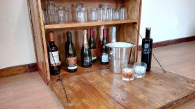 pallet wall wine rack. Custom Made Pallet Wall Mounted Bar / Drinks Wine Cabinet With 90 Degree Angle Door Rack
