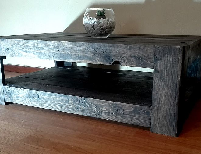 Charcoal Farmstyle Floor Base Pallet Coffee Table 2