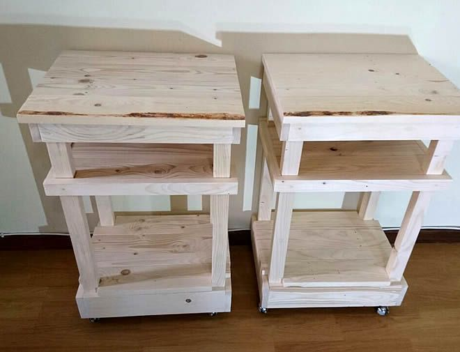 raw pallet bedside tables shelf + wheels 1