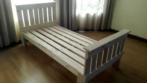 Single pallet bed raw creator creations custom wooden for Raw wood bed frame