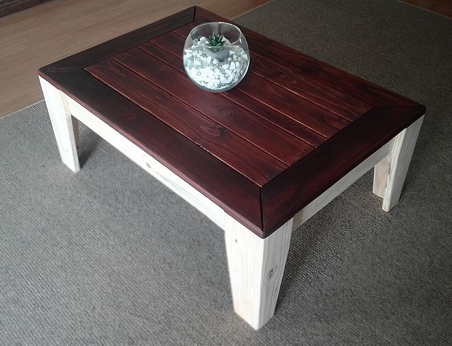 angled coffee table 2 tone 3