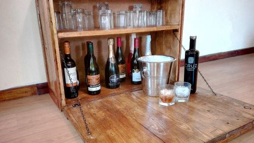 Custom Made Pallet Wall Mounted Bar / Drinks / Wine Cabinet with 90 degree angle door / serving shelf / counter top - Creator Creations, White River, Nelspruit