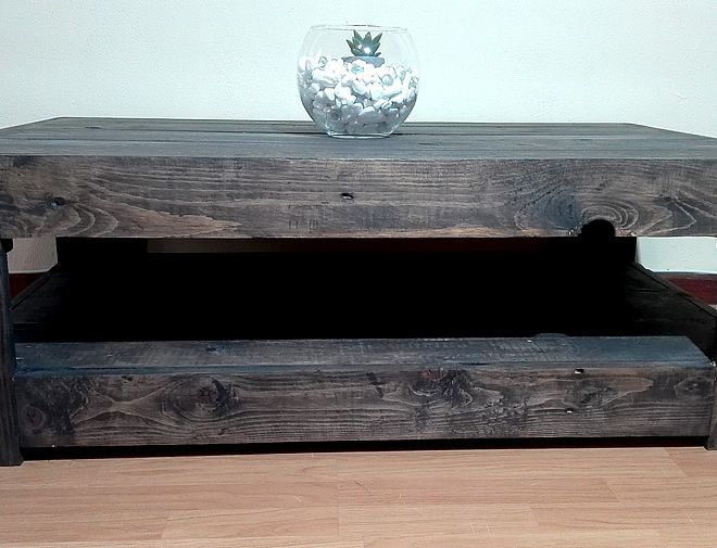 Charcoal Farmstyle Floor Base Pallet Coffee Table 1