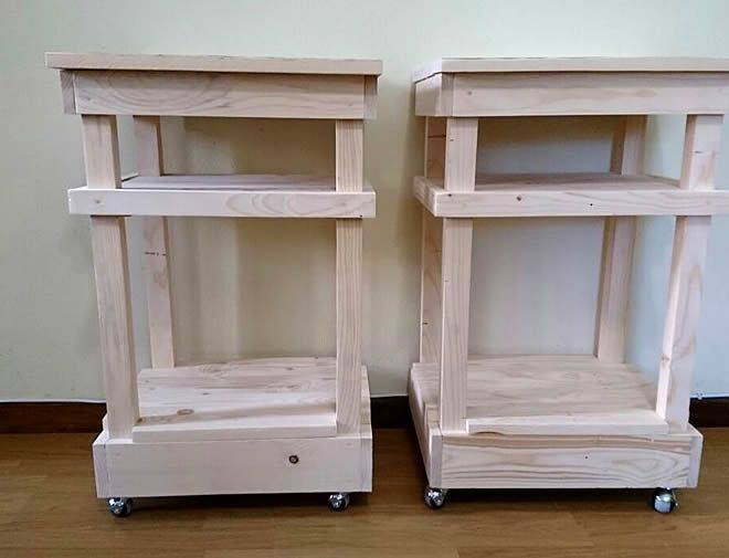 raw pallet bedside tables shelf + wheels 2