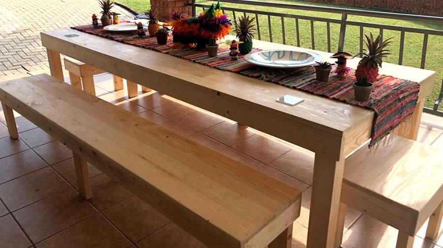 10 Seater Block Dining Set Raw Pallet