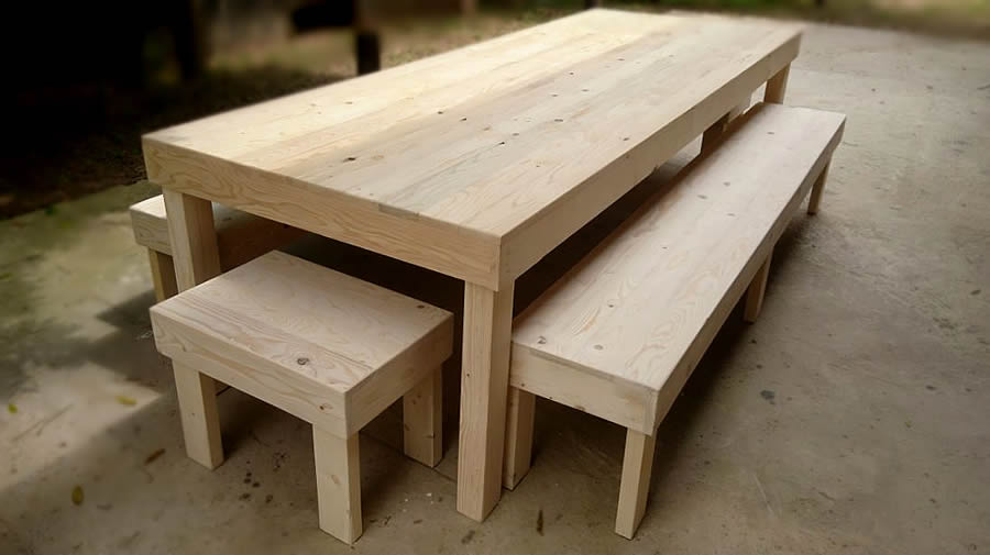 10 Seater Block Dining Set | Raw Pallet